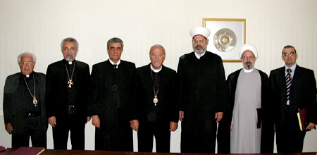 The members of the Standing Conference of American Middle-Eastern Christina and Muslim Religious Leaders who attended the August 6th emergency Meeting (l. to r.)  Bishop Antoun, Fr. Nerses Manoogian, Sheik Sami Merhi, Metropolitan Philip, Sheikh Hamad Ahmad Chebli, Imam Fadhel Al-Sahlani, Mr. Abdulbaset Ibrahim
