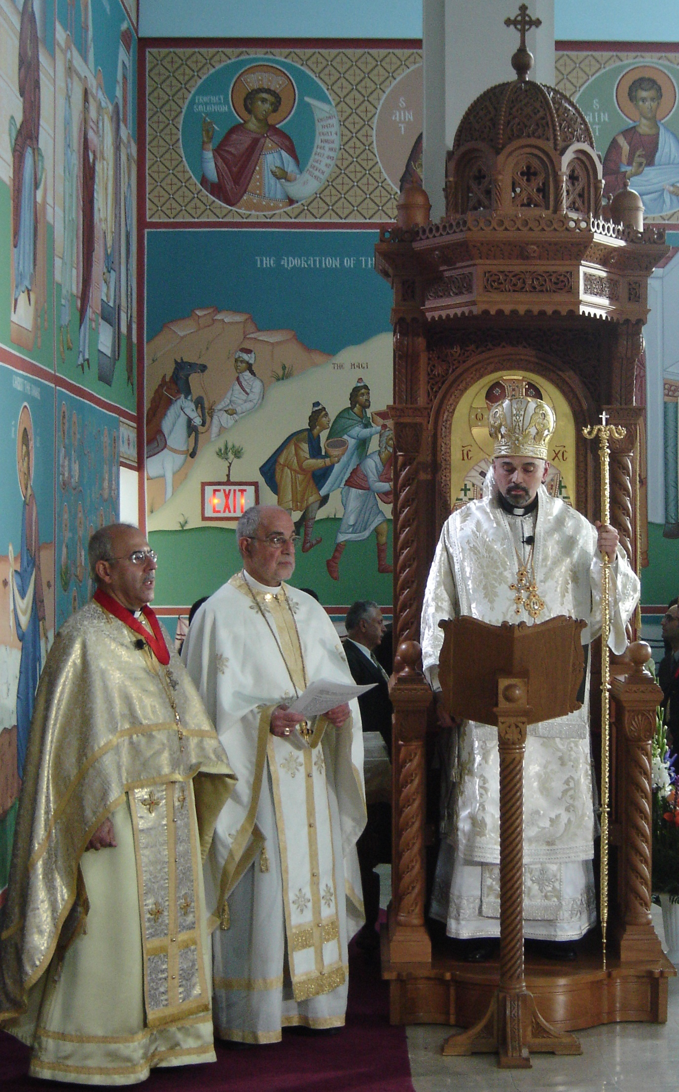 Bp. ALEXANDER Ascends His throne escorted by Fr. Ghattas Hajjal and Fr. Antony Gabriel (Click to enlarge)