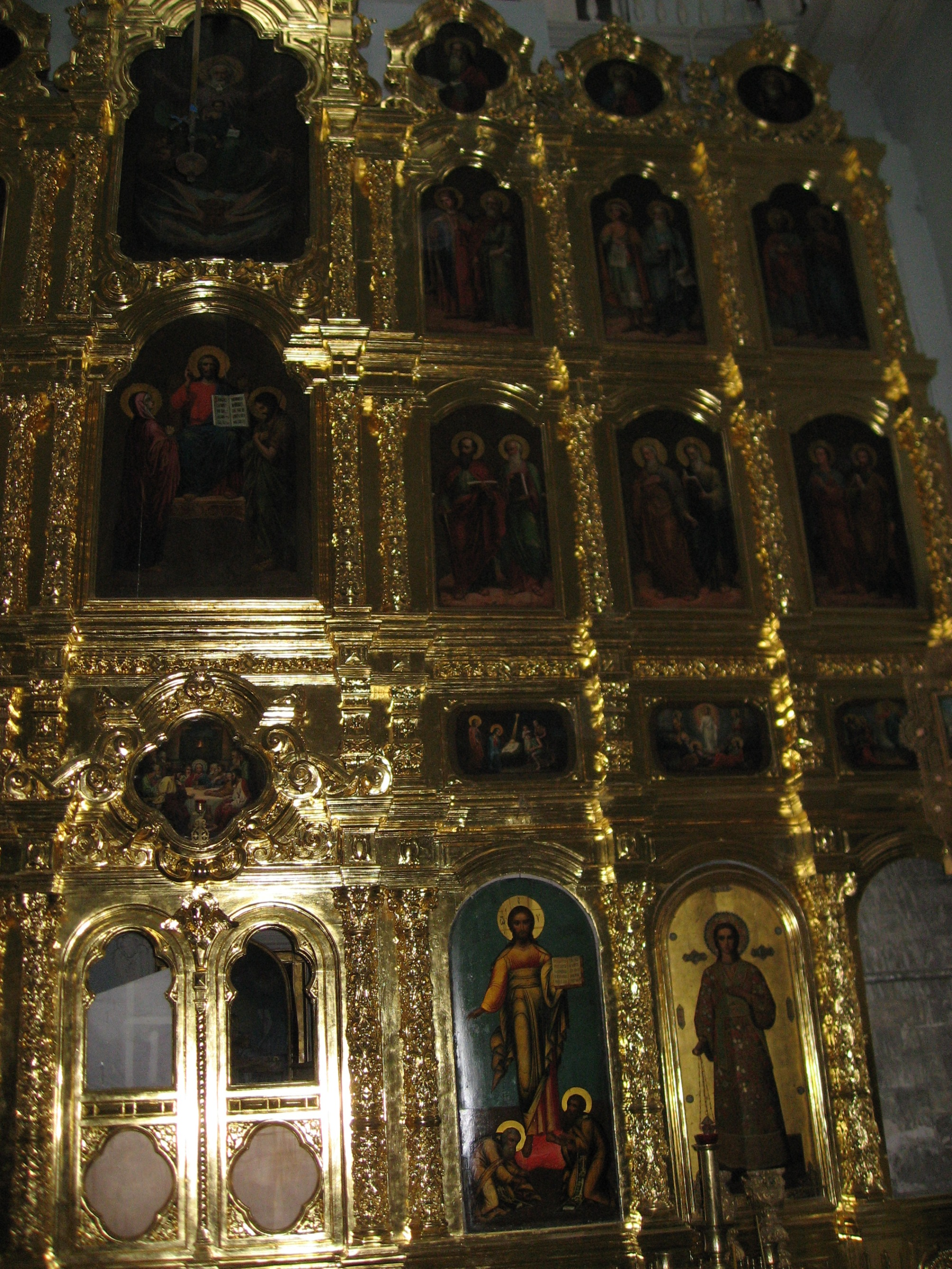 Partial view of the restored iconostasis of the Church of Archangel Gabriel at the metochion