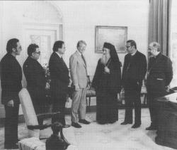 With President Jimmy Carter at the White House: From l.: Fr. George Rados, Fr. Antoun Khouri, James Abourisk, Pres. Carter, Patriarch Elias IV, Met. Philip, Met. Ilyas Kurban