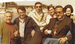 At Long Beach Harbor, CA in April 1975: (L-R) Frmr. Consul General (Portland) of Lebanon Robert Bitar, Michel Rowihab, Salim Srour, Marian Deeb, Metropolitan Philip and Mabel Bitar.