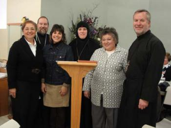 Marilyn Robbat, Fr. Edward Hughes, Kh. Erin Kimmett, Mother Alexandra, Mary Lou Catelli and Fr. Joseph Kimmett