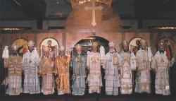 Celebrating the Liturgy with fellow hierarchs at the 1995 Archdiocesan Convention: From left: Bishop Dmitri, Bishop Basil, Metropolitan Abad, Bishop Antoun, Metropolitan Shadrawi, Metropolitan Philip, Metropolitan Dumit, Bishoip Nifon, Bishop Joseph, Metropolitan Damaskinos.