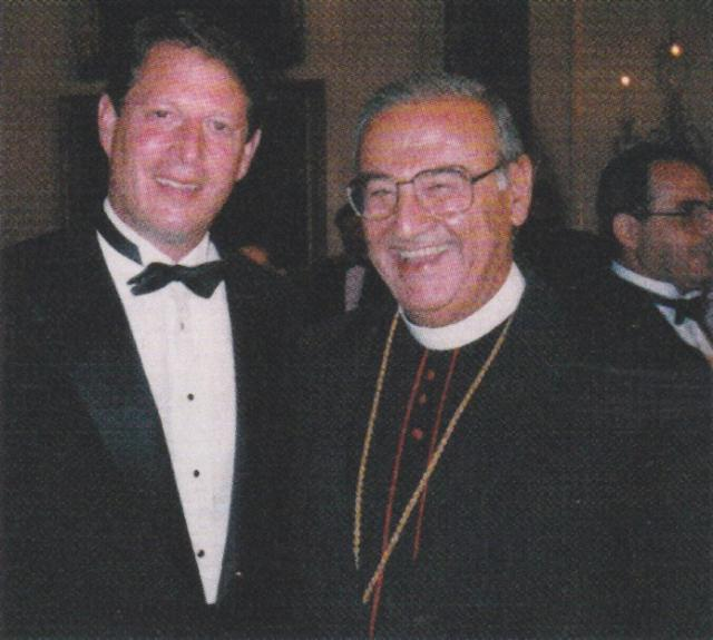 With Vice-President Al Gore for the signing of the Jordan/Israeli Peace Concord, 1994
