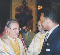 Greeting the Rev. Jesse Jackson at the Archdiocesan Convention in Chicago