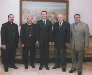 With Syrian President Dr. Bashar Al-Assad, Fawaz El-Khoury, Dr. George Farha and Fr. Joseph Antypas