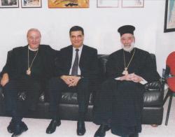 With Metrpolitan Elias of Beirut and M.P. Atef Mijdlany in Beirut, Lebanon
