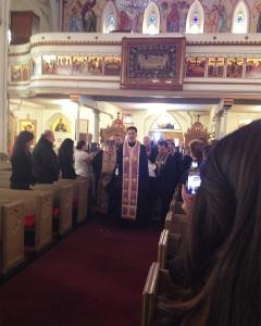 March 26, 2014: His Eminence is brought into St. Nicholas Cathedral, accompanied by Fr. Thomas Zain and Fr. George Kevorkian