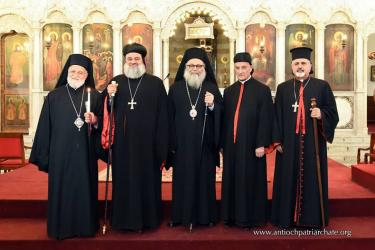 L to R: Patriarchs Gregorios III, Ignatius Aphrem II, John X, Bechara Boutros al-Rahi, Ignatius Joseph III