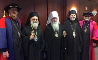 L to R: Fr. John Behr, Patriarch John X, Metropolitan Tikhon, Metropolitan Joseph, Fr. Chad Hatfield