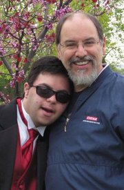 Fr. Anthony Yazge and his son Mark, a Special Olympics athlete