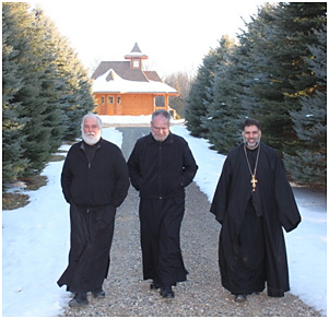 Fathers (l-r) Matthew Wade, Gregory Owen and Alexis Kouri take a stroll at the Dormition Monastery