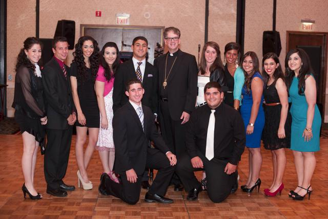 Bishop Anthony with High School Seniors at the Grand Banquet