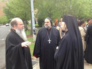 Met. Tikhon, Bp. Ephraim (Syrian Church) and Bp. Nicholas before prayer walk in Kelly Ingram Park