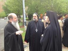 Met.Tikhon, Bp. Ephraim (Syrian Church) and Bp Nicholas (Antiochian Church) before prayer walk in Kelly Ingram Park