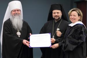 Met. Tikhon and Bp. Nicholas award honorary doctorate to Anne Glynn Mackoul