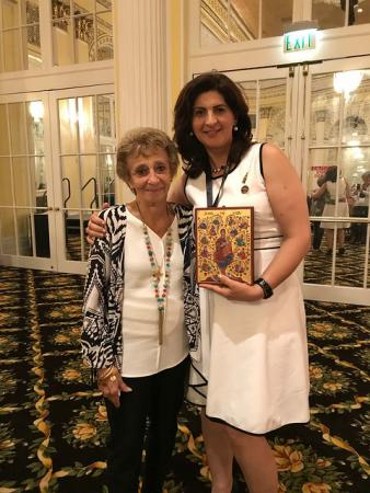 """The Tree of Jesse"""" icon was presented on July 24 to Mrs. Evelyn Kouri, in honor of her tireless work in establishing and planting the seeds for the Antiochian Women of the East(AWE). Mrs. Kouri served as the very first president of AWE."""