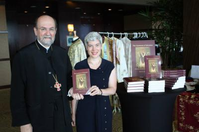 St. Vladimir's Chancellor/CEO Fr. Chad Hatfield with Kh. Krista West at Houston Convention (photo: Dn. G. Hatrak)