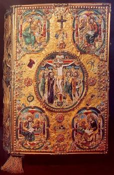 The Four Evangelists: Ss. Matthew, Mark, Luke and John on a Russian Gospel Book