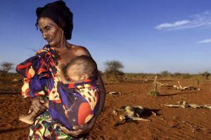 Eighty year old Ethiopian woman cradles her grandson (photo: IRIN/George Mulala)
