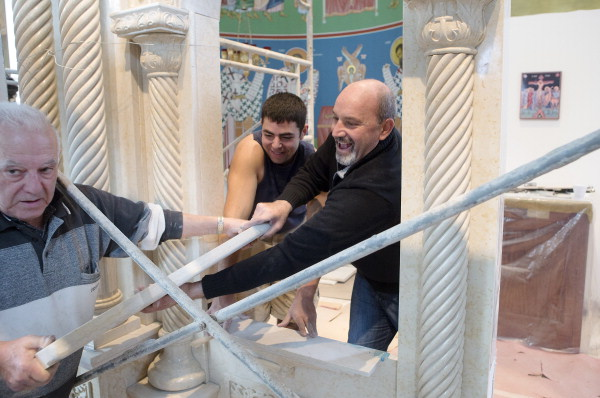 Constructing the iconostasis at St. George Orthodox Church, Cedar Rapids