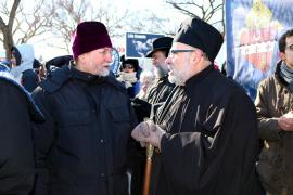 Bishop John with St. Vladimir's Seminary Chancellor/CEO Fr. Chad Hatfield, at March for Life, 2014