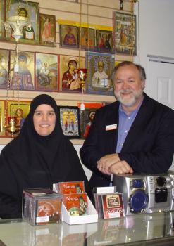 Mother Alexandra and Paul Finley, Director, at the the Antiochian Village Bookstore and Giftshop