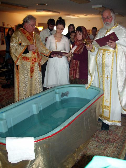 Rebecca Whirledge being baptized in December of 2008.
