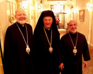 Bishop THOMAS (right) with Bishop JOSEPH and Metropolitan PHILIP at the Episcopal Assembly