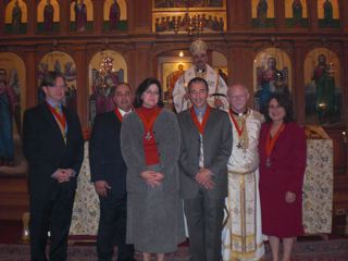 St. Mary Antiochian Orthodox Church, Cambridge, MA October 4, 2009. Bishop Alexander and, L to R: Michael Marge, Raymond Sayeg, Melissa Sayeg, Paul Nahas, Fr. Antony Hughes, Kh. Carol Hughes
