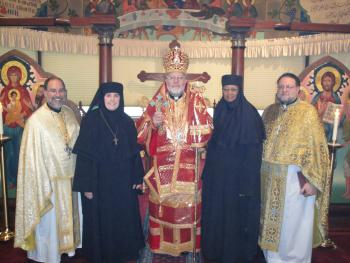 After Sunday Liturgy, His Grace Bishop JOSEPH with Father Anthony Yazge, Mother Alexandra, Mother Miriamne and Father George Alberts