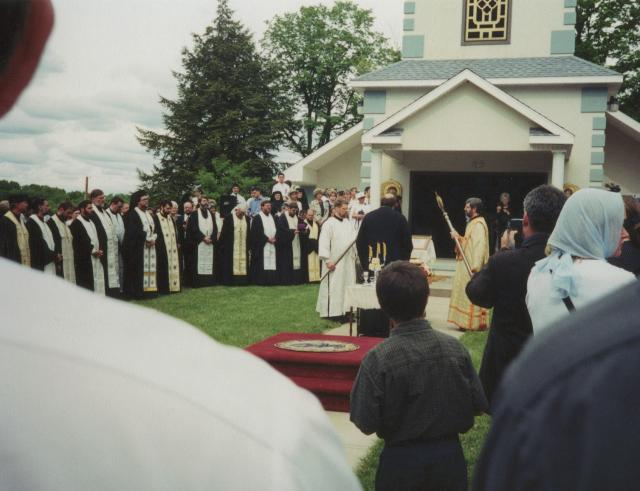 Clergy and laity participating in the services