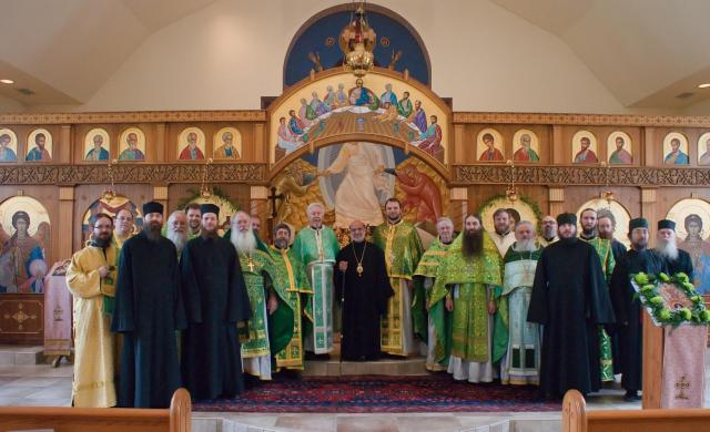Bishop Thomas along with 11 priests, 2 deacons, 2 sub-deacons and 6 other monastic fathers. Matins and Liturgy were held on Holy Spirit Monday.: Visitors from St. George Cathedral (Antiochian) – Charleston, St. Nicholas (Antiochian) – Beckley, St. George (Greek) – Huntington, Christ the Savior (ROCOR) – Wayne and Holy Cross Monastary (ROCOR) – Wayne were in attendance.
