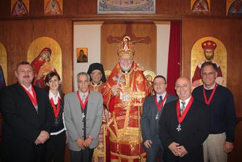 Imad Shami (sponsor), Rima Shami, Ghassan Kebaien (new member), Fr. Michel Boghos, Bishop JOSEPH, Antoine Hindeleh (new member), Anton Bishouty (sponsor), Bill Tsoukalas