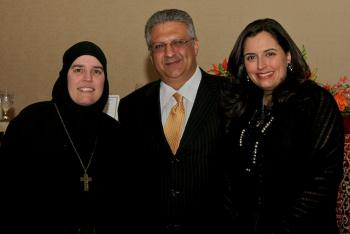 Mother Alexandra with Nijad and Zeina Fares
