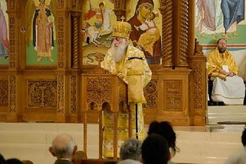 Archbishop Dmitri preaching at St George Cathedral in Wichita, Kansas on the Sunday of Orthodoxy, 2009.