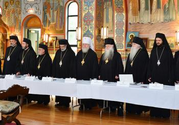 Bishop Thomas and Bishop John (3rd and 4th from left) join other hierarchs at the 2013 Assembly of Bishops Meeting