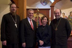(from left) Dean Archpriest John Behr, Alex Machaskee, Anne Mackoul, and Chancellor/CEO Archpriest Chad Hatfield