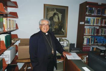 Bishop Antoun at the Antiochian Village Library