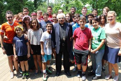 Bishop Antoun with Antiochian Village campers