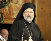 Bishop John Abdalah speaking at St. Tikhon's