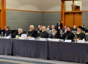Metropolitan Joseph and Archbishop Demetrios (center) and fellow bishops at 2014 meeting (photo: GANP/Dimitrios Panagos)