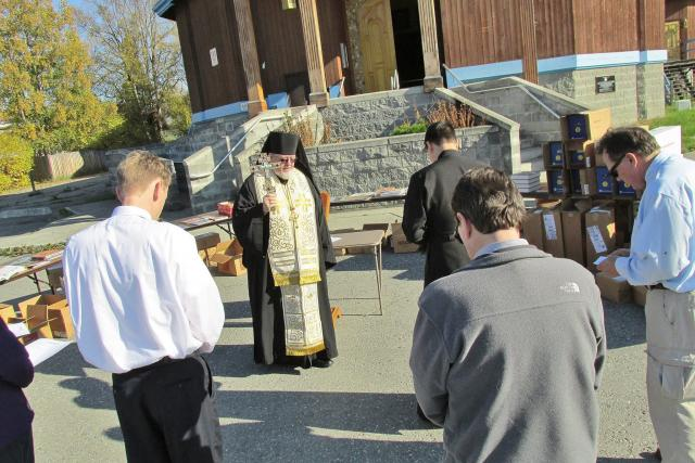 Bishop David, OCA Diocese of Sitka and Alaska, blesses 8000 books from IOCC