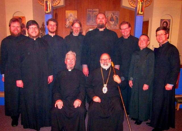 Bishop John with Holy Trinity Orthodox Church clergy: December, 2015