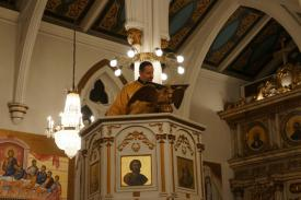 Dn. Andre reading at Nativity Liturgy, St. Nicholas Cathedral, Brooklyn, NY