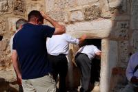 Holy Land Pilgrims Entering the Church of the Nativity in Bethlehem