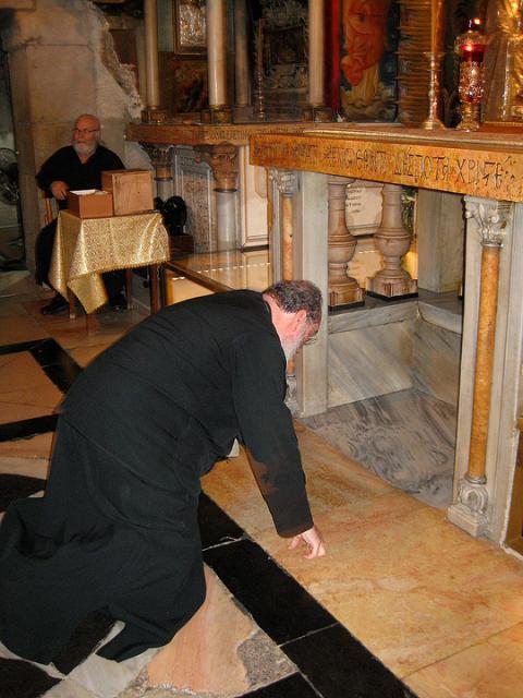 Bishop Basil Venerating at Golgotha