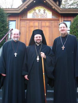 Bishop Nicholas with Chancellor Fr. Chad Hatfield (left) and Dean Fr. John Behr (right) in front of Three Hierarchs Chapel on campus.