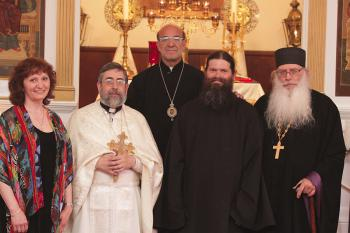 L to R:  Kh. Loretta Haddad, Fr. Samuel Haddad, Bishop Thomas, Fr. Aaron and Abbott Seraphim of the Hermitage of the Holy Cross Monastery in Wayne, WV