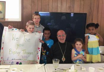 His Grace, Bishop Thomas with children at St. Nicholas Antiochian Church, Beckley, WV